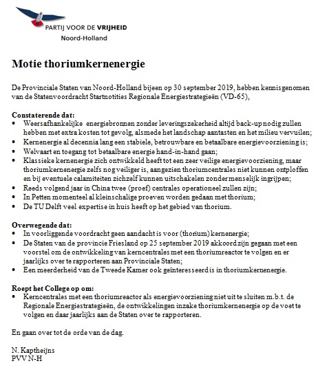 Motie thoriumkernenergie PS 30 9 2019
